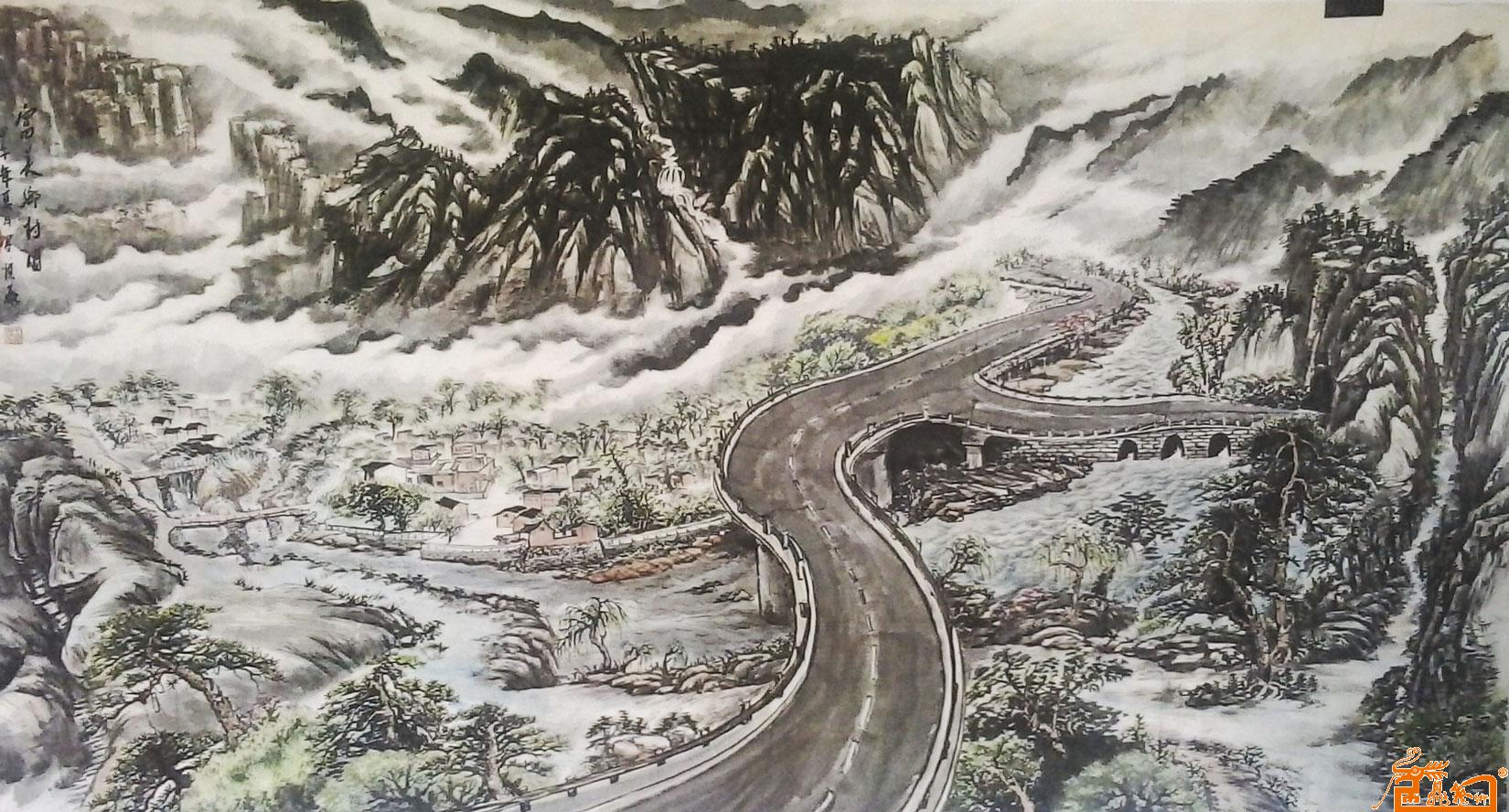 王顺泰-水墨国画富美乡村图-淘宝-名人字画-中国书画