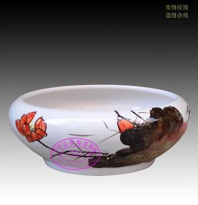 中华品牌陶瓷商城-手绘荷花缸养鱼盆-淘宝-名人字画