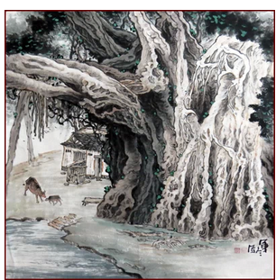 一品轩画苑 - 纯手绘四尺斗方桂林山水画国画/古榕树/字画书画作品