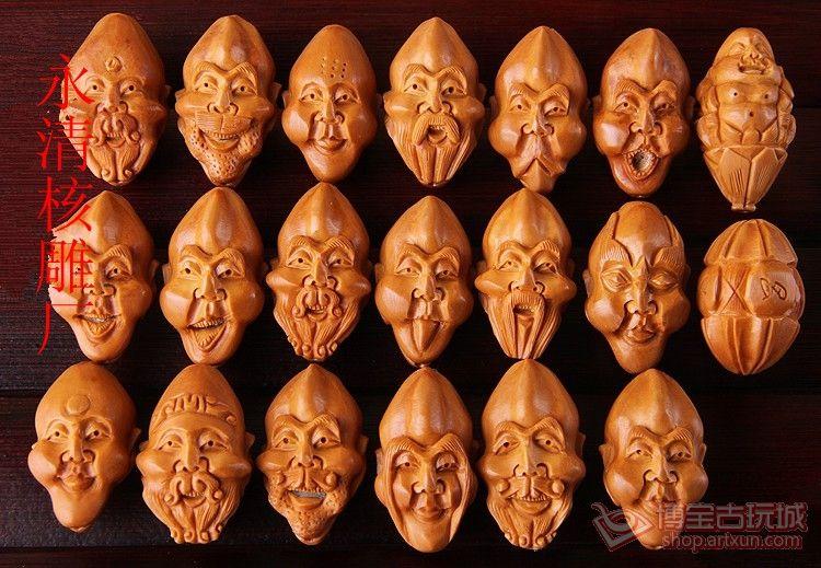 亚光款 橄榄核雕刻单面十八罗汉长 手串手链图片