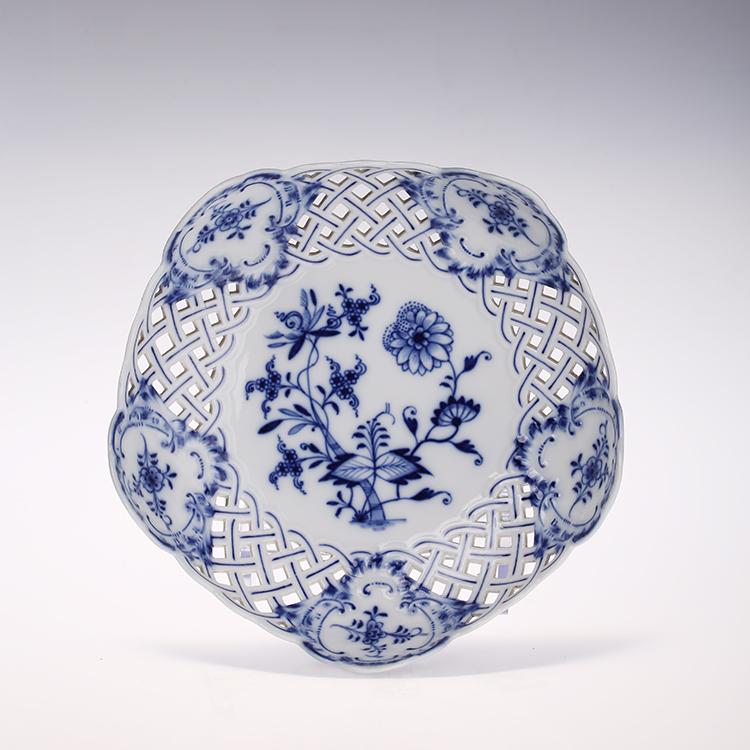 德国梅森 瓷器 meissen 新剪裁 蓝洋葱镂空边果盘 1