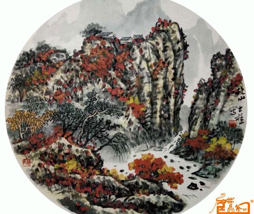 国画名家 陈士桂 - 团扇-山水1