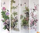 作品63梅兰竹菊-四条屏