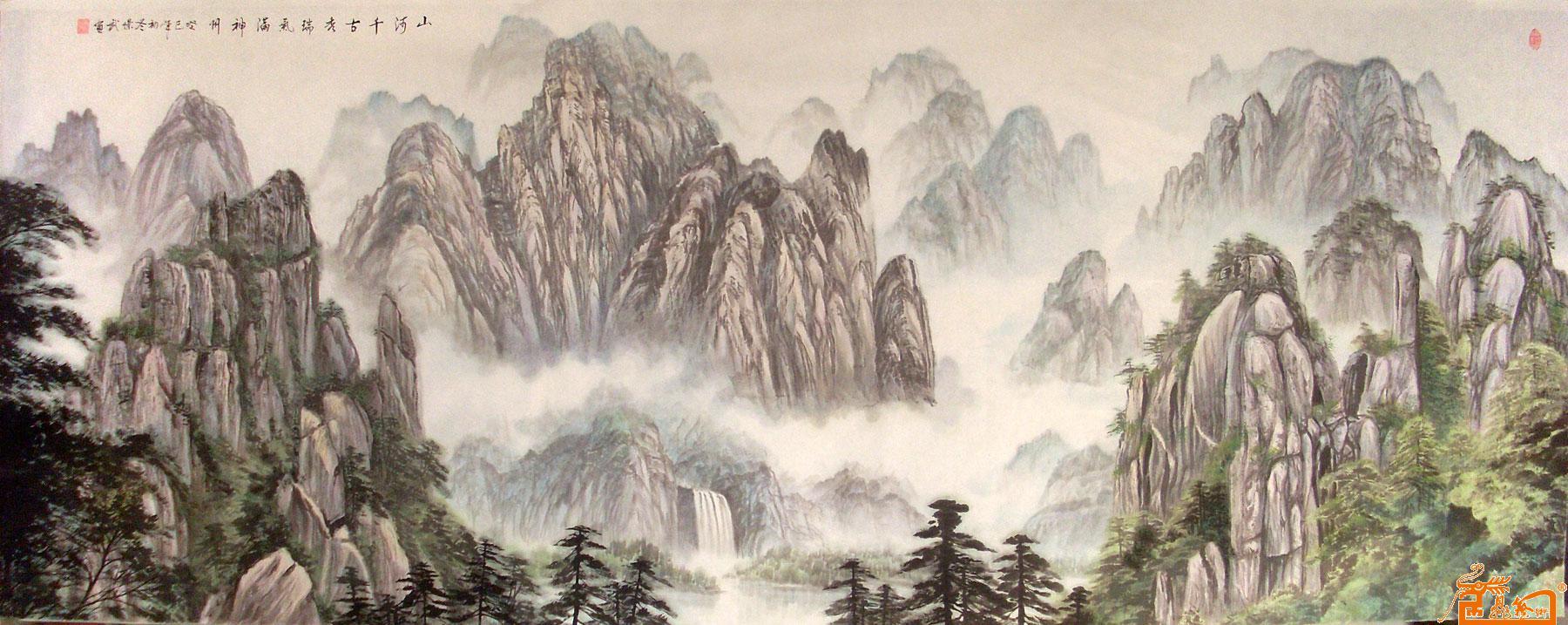 山河祥云雕塑背景画