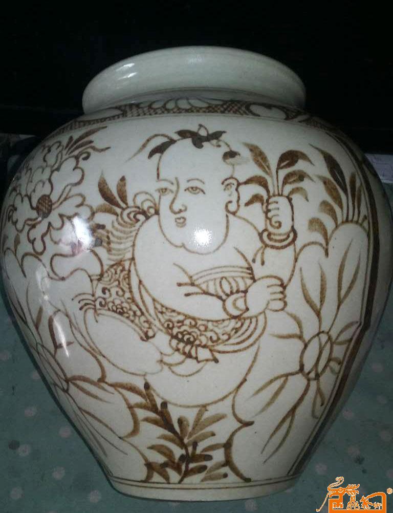 26、宋磁州窑婴戏莲纹罐
