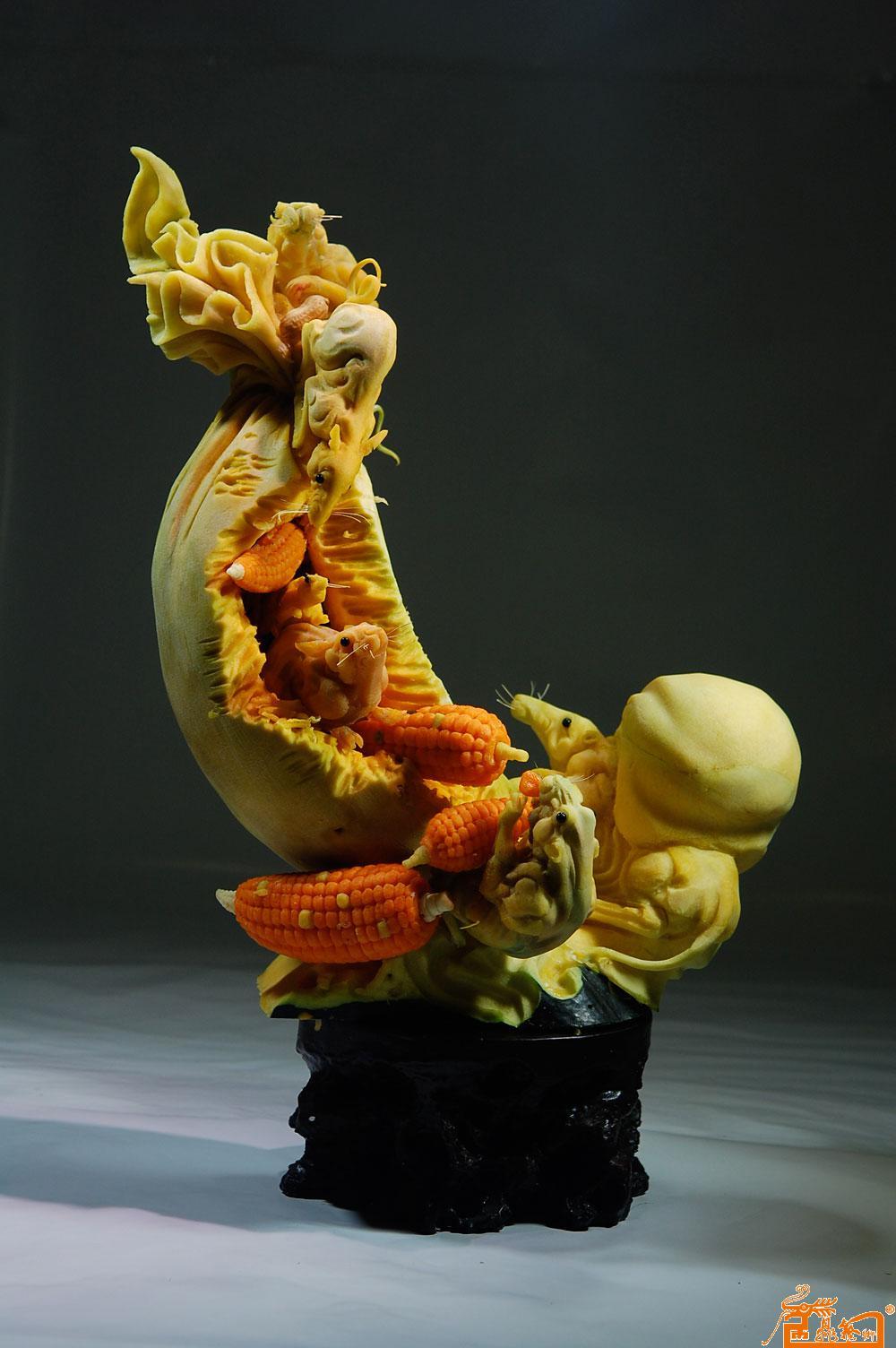名家 孔令海 国画 - 动物雕刻老鼠作品7