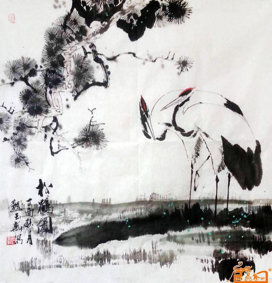 名家 魏玉新 国画 - 作品7-松鹤图